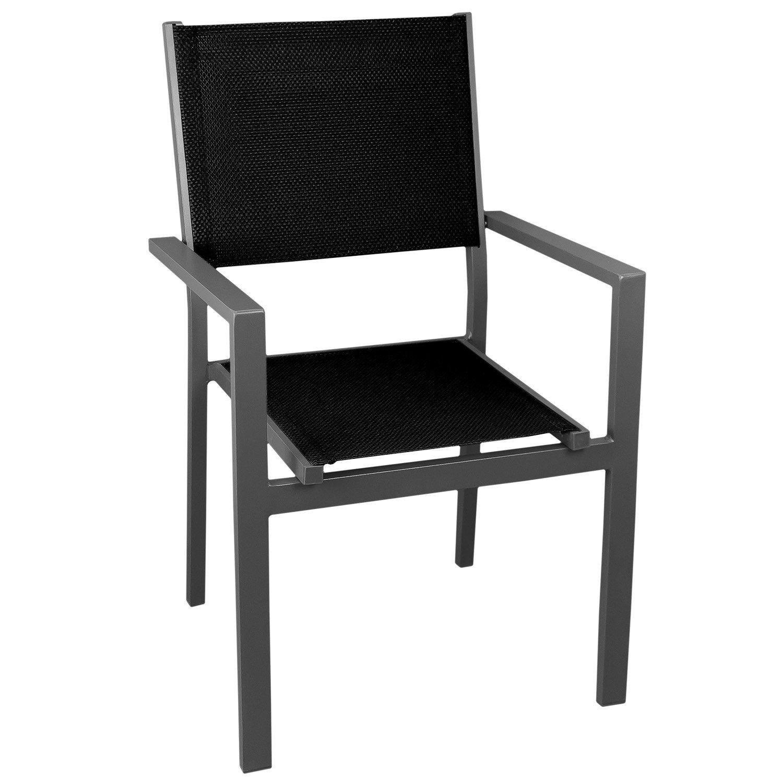 Gartenstuhl Stapelstuhl grau – hochwertige 4×4 Textilenbespannung schwarz, Aluminium, stapelbar – Gartensessel Bistrostuhl Stapelsessel Balkonmöbel Gartenmöbel Terrassenmöbel Gartensitzmöbel kaufen