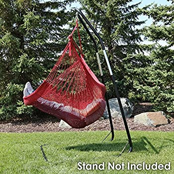 Sunnydaze Hanging Caribbean Extra Large Hammock Chair, Soft-Spun Polyester Rope, 40 Inch Wide Seat, Max Weight: 300 Pounds, Red