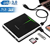 External Blu Ray Drive, Guamar 5 in 1 USB 3.0/USB C Blue-Ray CD/DVD Burner/Writer for Laptop/Micbook/Windows 10/PC, SD Card/TF Card/2 USB 3.0 Transfers and Charging Supported