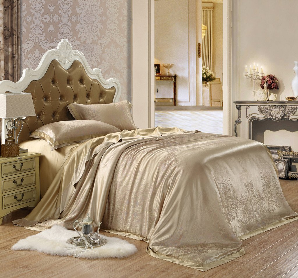 Orifashion Limited Edition 5-Piece Luxury 100% No-dyeing Nature Colour Silk Gold Floral Jacquard Bedding Set, California King Size