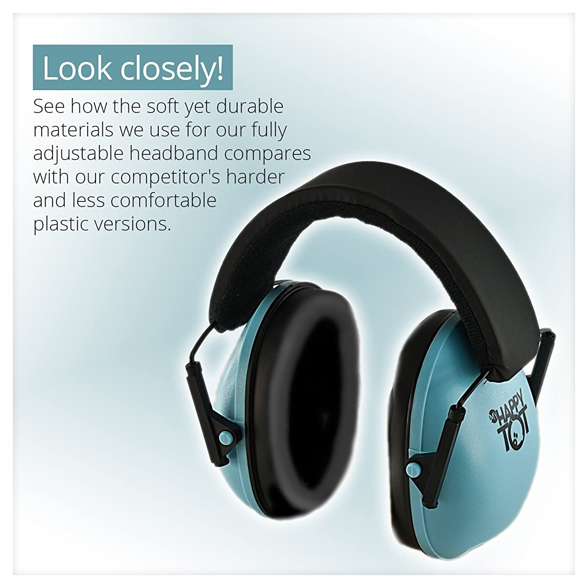 My Happy Tot Hearing Protection Earmuffs. Noise Reduction for Children & Infants, Fully Adjustable for 0-12 Yrs. Low Profile Cups, Padded Snug Fit Professional Hearing Defenders for Kids