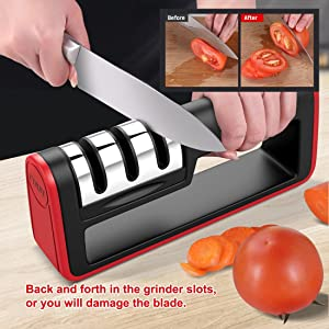 UTSLIVE Knife Sharpener 3-Stage Knife Sharpening And Cut-Resistant Glove