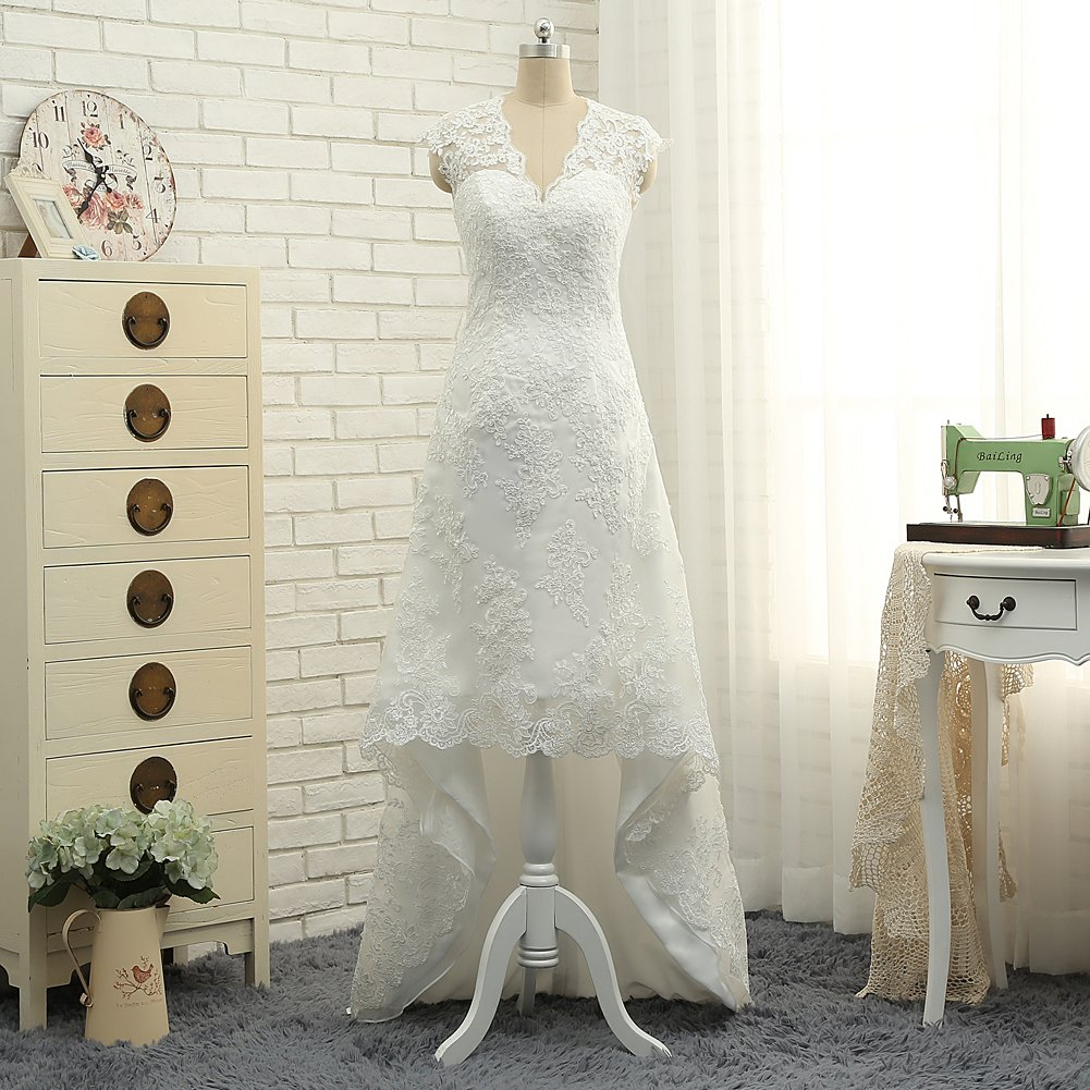 CustomDress Vintage High Low Wedding Dress V-Neck Capped Bridal Gown Plus size 4