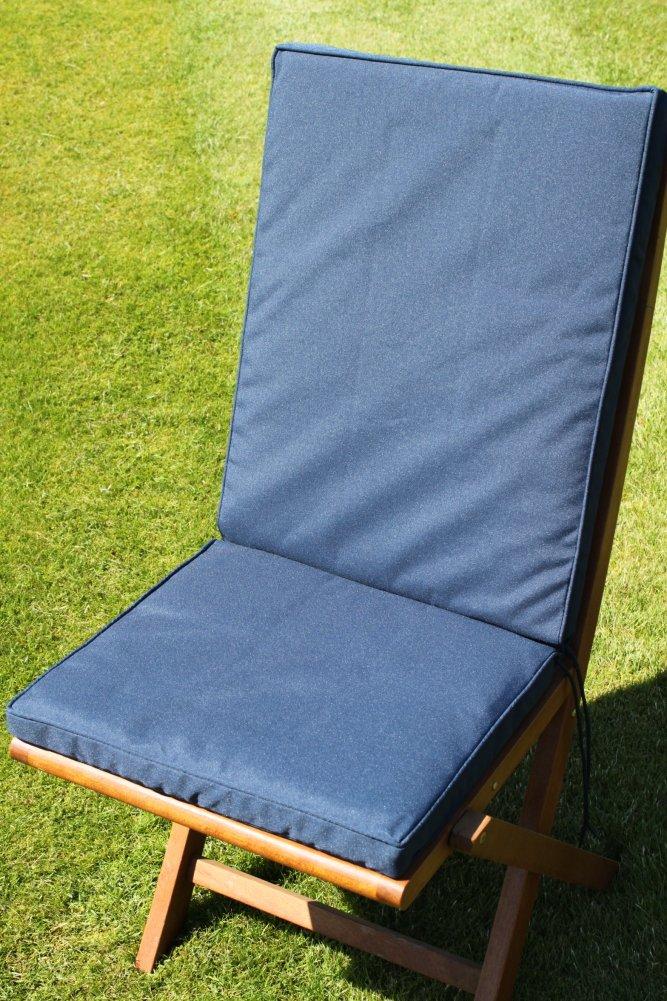 Gartenmöbel-Auflage - Sitz- und Rückenkissen für Klappstuhl in Marineblau