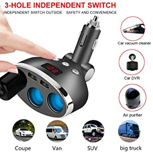 Car Charger,120W 3-Socket Cigarette Lighter Power Adapter DC Splitter 3.1A Dual USB Car Charger 12/24V with LED Voltage Display for iPhone X/8/7/6s/6 Plus, iPad, Samsung Galaxy S6/S6 Edge and More