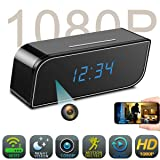 Spy Camera Clock WiFi Hidden Camera,HD 1080P Wireless IP Camera Video Recorder Nanny Cam Indoor Home Office Security Motion Detection Night Vision Looping Recording Support iOS & Android (Black) (Color: office cam)