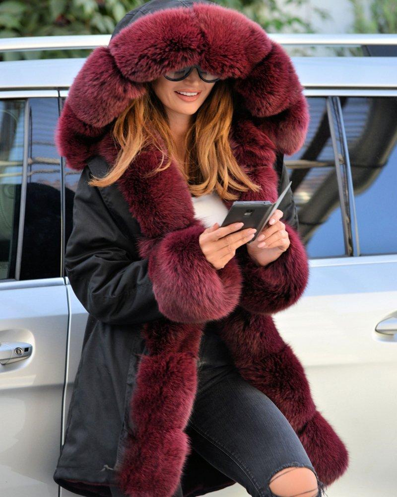 Roiii Vintage Women Military Faux Fur Hooded Winter Warm Coat Ladies Jacket Size 8-18 2