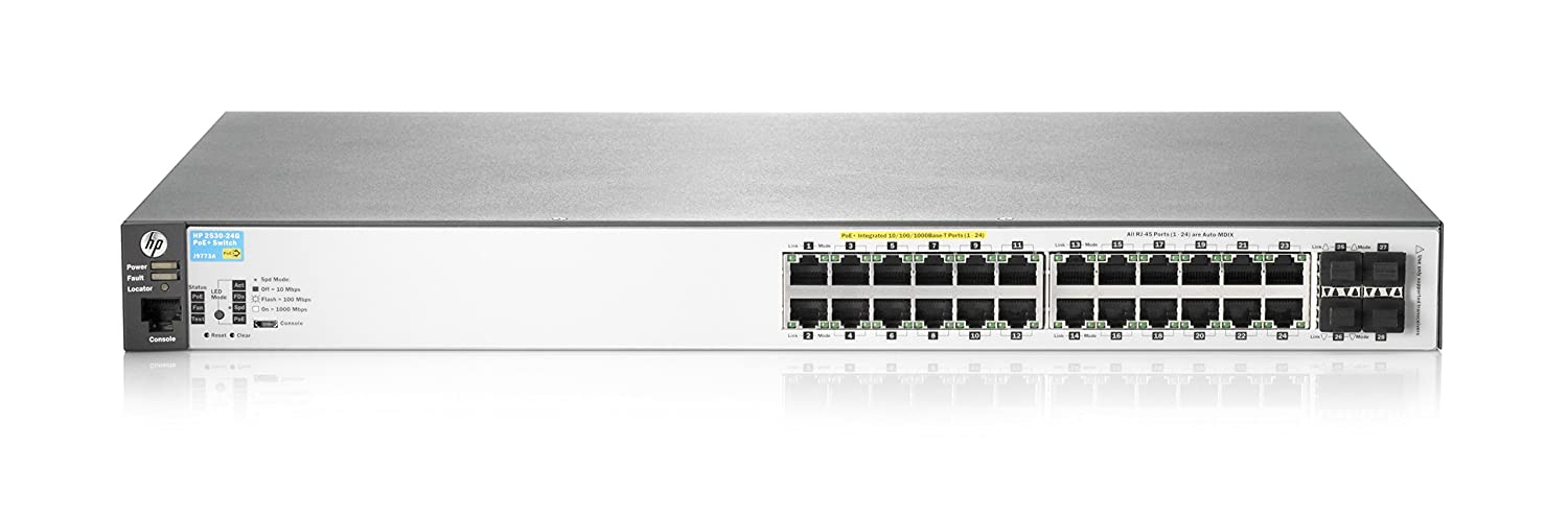 HP J9773A 2530-24G-PoE+ Switch 24 Ports, Manageable, 24 x POE+, 4 x Expansion Slots, 10/100/1000 Base-T PoE Ports, Desktop, Rack-Mountable, Wall Mountable