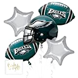 Andaz Press Balloon Bouquet Party Kit with Gold Cards & Gifts Sign, Eagles Football Themed Foil Mylar Balloon Decorations, 1-Set (Color: Sports Eagles)
