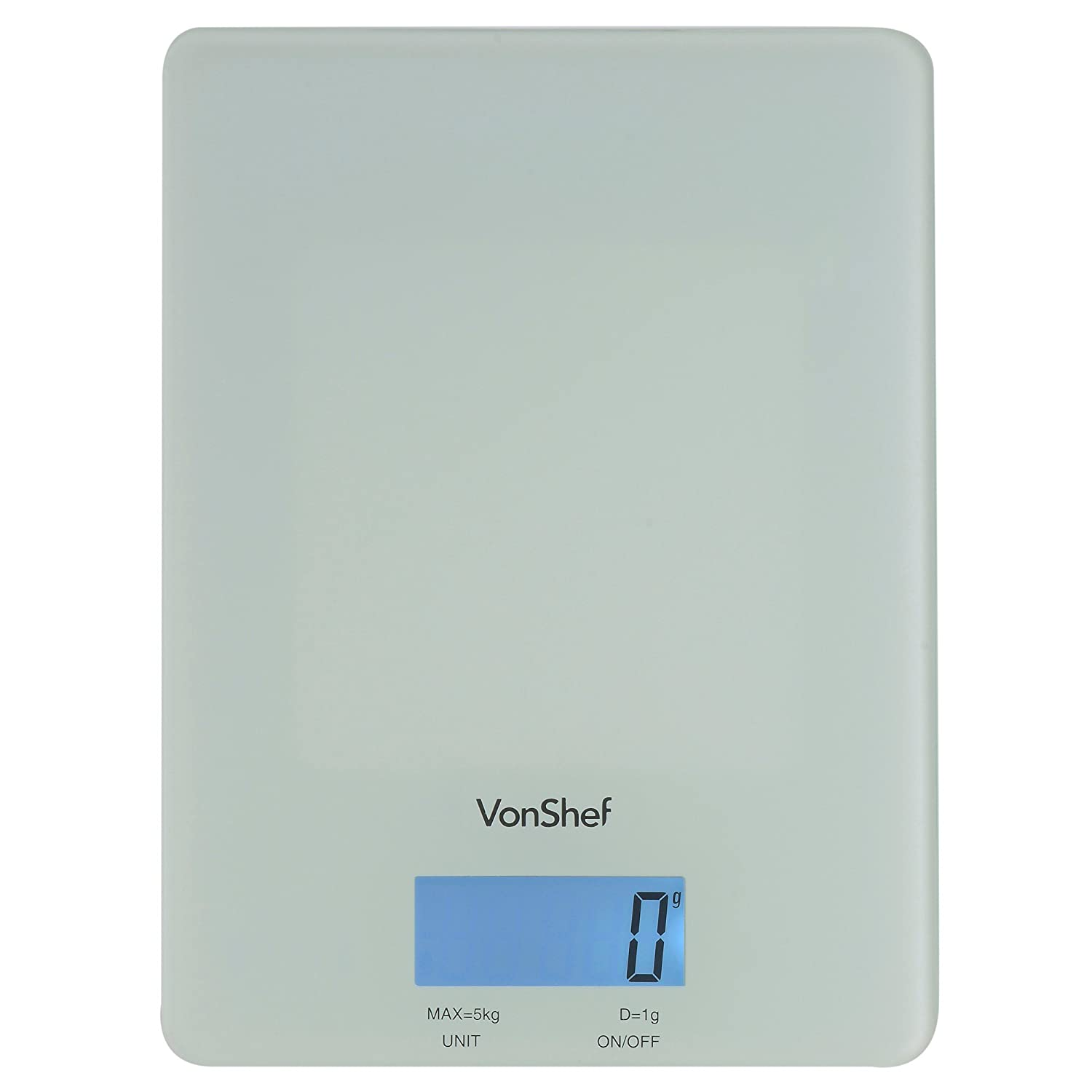 VonShef 07/129 Slim Glass Electronic Kitchen Scale