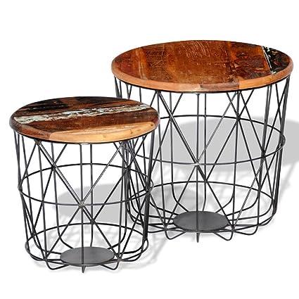 Set di 2 tavolini da caffè in legno riciclato 35 cm/45 cm