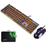 LexonElec Keyboard Mouse Combo Gamer K100 Wired Orange Yellow LED Backlit Punk Keycap Metal Pro Gaming Keypad + 3200DPI 6 Buttons Mouse + Mice Pad for Laptop PC (Black & Orange LED Backlit) (Color: Black & Orange LED Backlit)