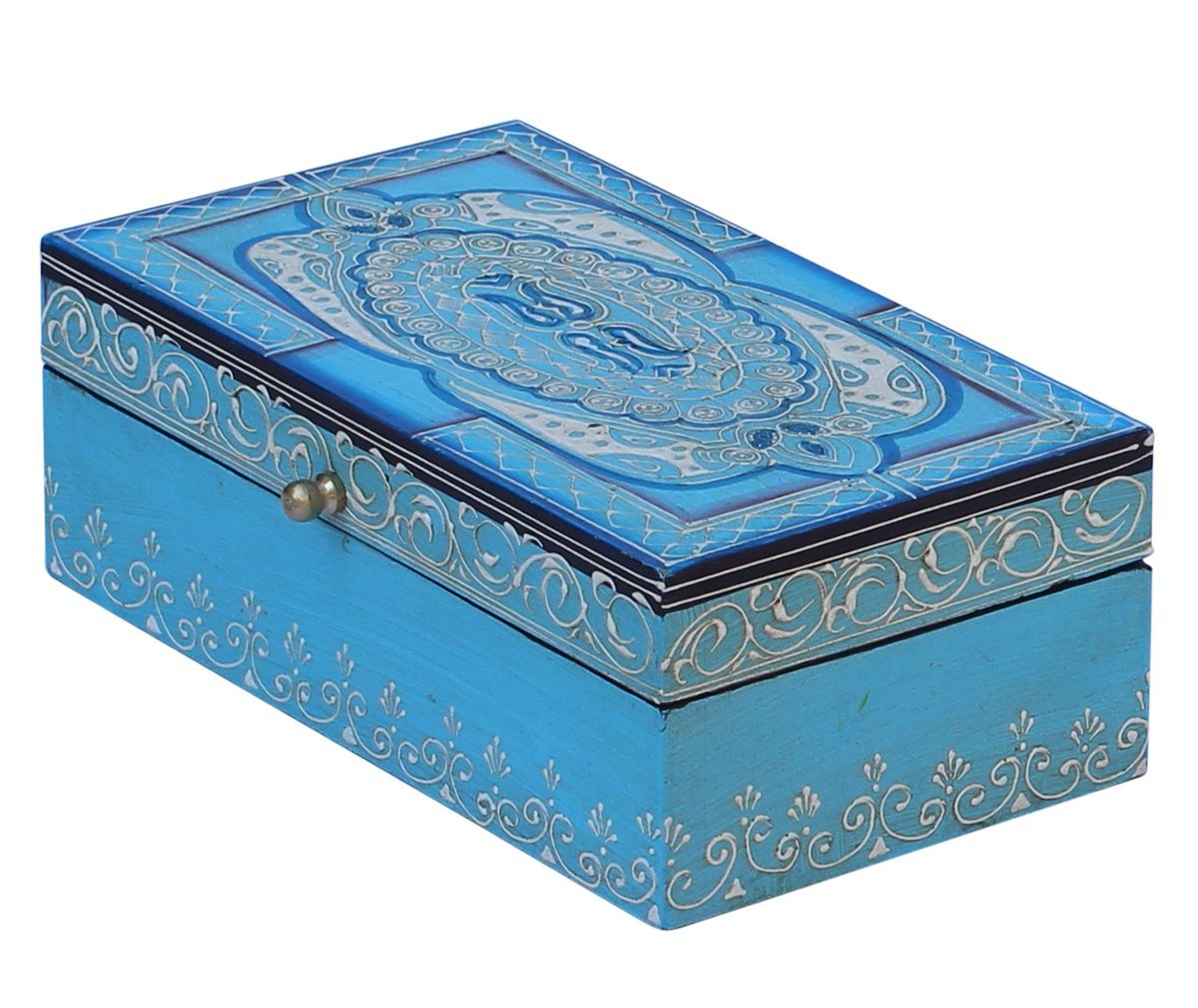 Wood Jewelry Box - Turquoise Blue