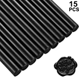 15 Pieces Glue Gun Sealing Wax Sticks for Retro Vintage Wax Seal Stamp and Letter, Great for Wedding Invitations, Cards Envelopes, Snail Mails, Wine Packages, Gift Wrapping (Black) (Color: Black)