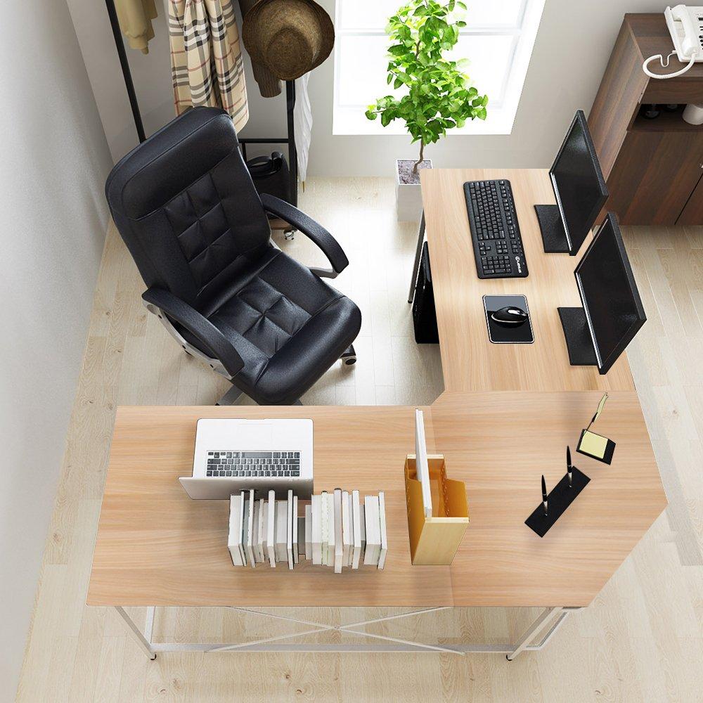 "Soges 59"" x 59"" Large L-shaped Desk Computer Desk Corner Desk Office Desk Computer Table, White Oak CS-ZJ02-MO"