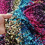 Sequin Material Heavy Flip Up Sequin Fabric Rainbow Reversible Sequin Fabric Mermaid Fabric by The 12 Yards -1017S (Color: Z03- Cross Lapped Rainbow, Tamaño: 12 Yard)