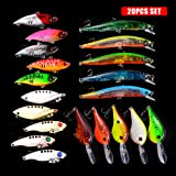 Fishing Lures Baits Tackle Crankbaits Spinnerbaits Spoons Topwater Frog Soft Lure Plastic Worms Jigs Hooks Tackle Box Up To 121pcs Whopper Set Fishing Gear Kit for Bass Trout Catfish (057-20PCS) (Color: 057-20PCS)