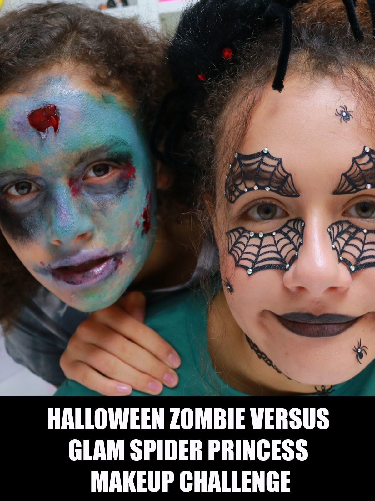 Halloween Zombie Versus Glam Spider Princess Makeup Challenge