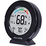 AcuRite 01080M Pro Accuracy Temperature and Humidity Gauge with Alarms, Black (Color: Black)