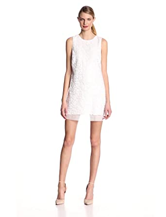 ERIN erin fetherston Women's Honeysuckle Sequin Sleeveless Shift Dress, Ivory, 2