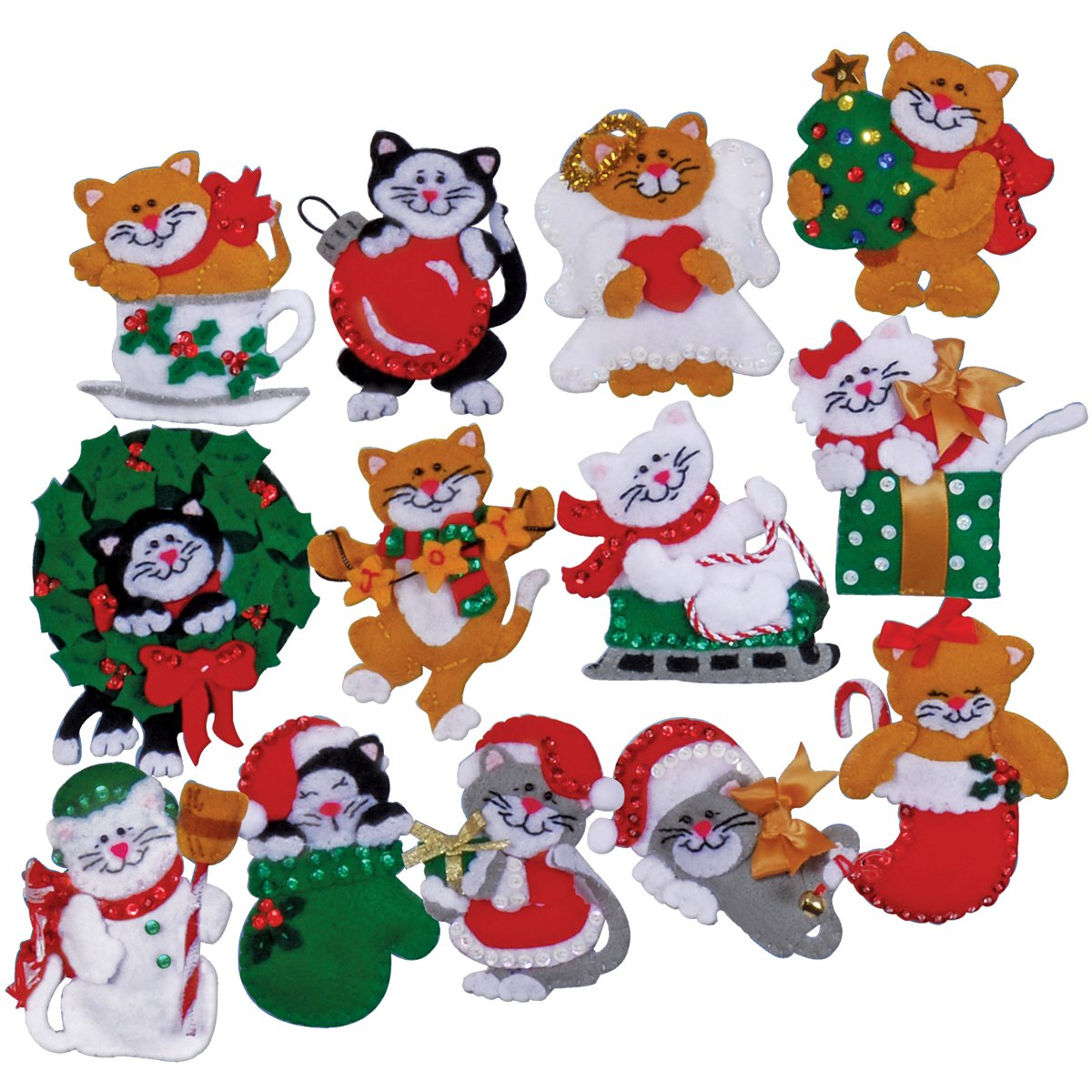 Tobin Lots of Kittens Ornaments Felt Applique Kit, 3 by 4-Inch, Set of 13 xinqite home furnishing ornaments product suspension globe round 3 inch 85mm blue english version of the spot