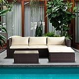 Merax 5-Piece Cushioned Outdoor Patio PE Rattan Furniture Set Sectional Garden Sofa (Brown.) (Color: Brown., Tamaño: 5 piece sofa set_Beige)