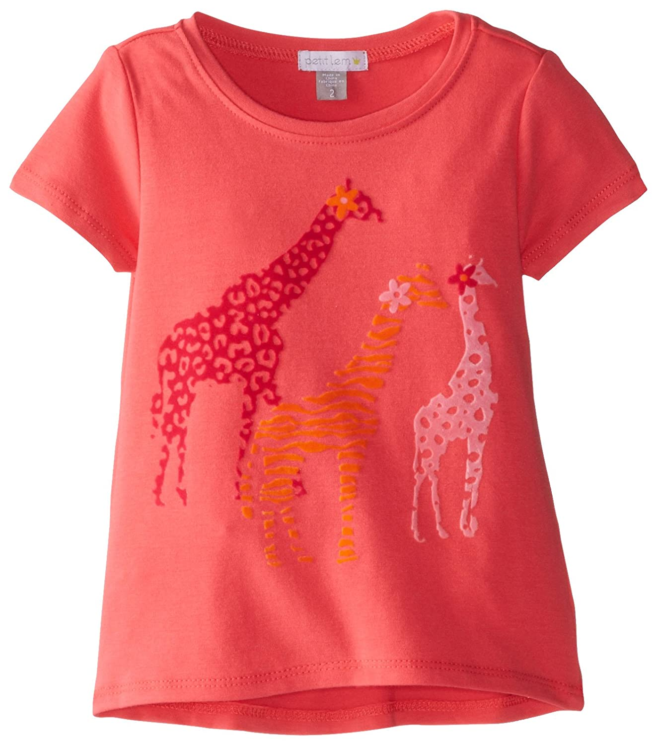 Petit Lem Little Girls' Giraffe Printed Tee