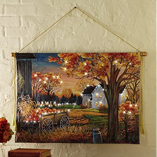 Harvest Farm Scene Lighted Wall Canvas Decoration