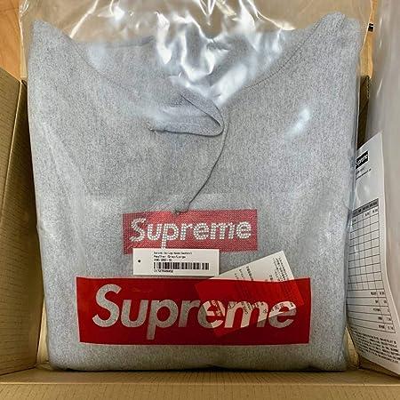 L グレー Supreme Swarovski Box Logo Hooded Sweatshirt heather grey シュプリーム 25周年 スワロフスキー ボックスロゴ パーカー large