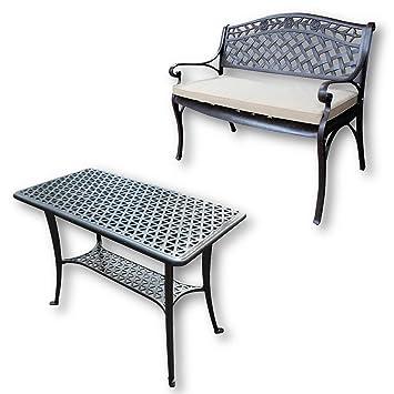 Lazy Susan - Mesa de apoyo para barbacoa y banco ROSE - Muebles de jardín en fundición de aluminio, color Bronce Antiguo (cojín beige)