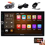 Front & Rear Camera included! Android 7.1 Double Din Car Stereo with 7'' Touch Screen In Dash GPS Navigation Entertainment Radio Receiver with External Microphone Support Bluetooth WiFi Mirror Link (Color: With Both Front and Backup Camera, Tamaño: Android 6.0 Car Stereo with Front & Backup Camera)