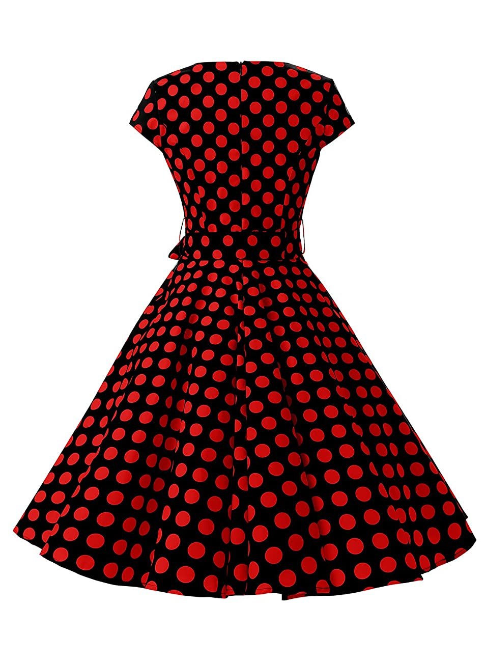 Dressystar Vintage 1950s Polka Dot and Solid Color Party Prom Dresses Rockabilly Cap Sleeves 2