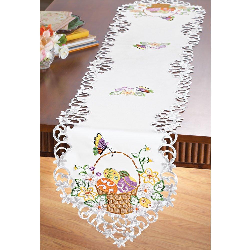 easter table runner white emroidered decoration fabric. Black Bedroom Furniture Sets. Home Design Ideas