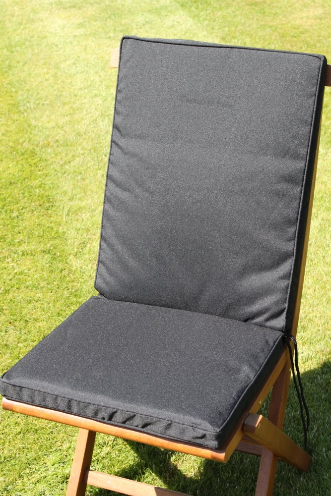 Gartenmöbel-Auflage - Sitz- und Rückenkissen für Klappstuhl in Schwarz