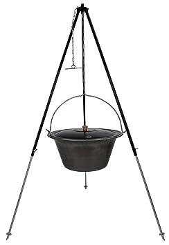 Gulaschkessel 20 Liter Edelstahl mit Deckel Teleskopgestell 180 schwarz und Feuerstelle