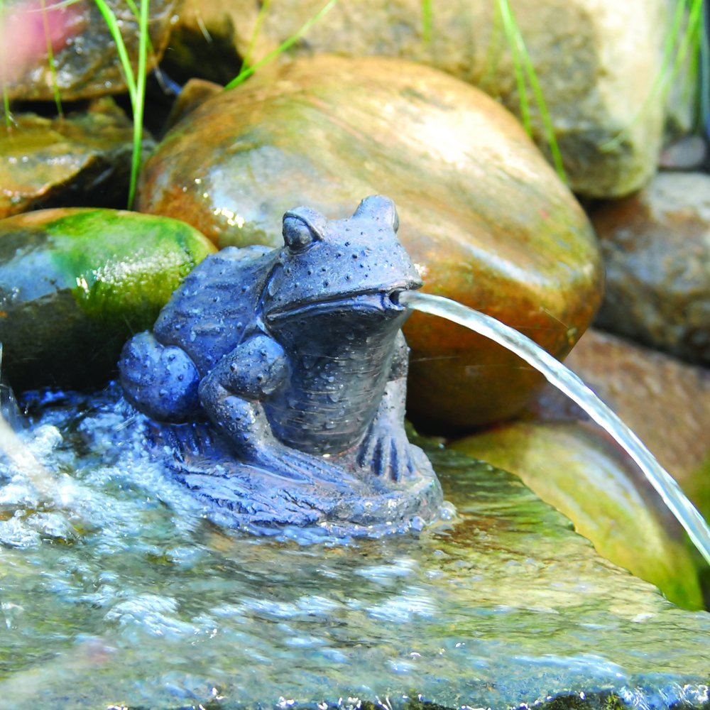 Frog spitter frog fountains for lawn and garden for Fish pond fountains
