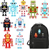 Baby Iron On Patches Unique Embroidered Motif Applique Assorted Small Size 9pcs Robot Appliques Sew On Patches for DIY Caps Handbag T-Shirt Jeans Jacket Clothing Backpack Hole Repair (Color: Robot patch)