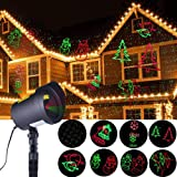 CERCHIO Xmas Lights Outdoor Motion 8 Patterns Christmas Laser Lights Projector Waterproof for Landscape Garden Holiday Party Halloween Christmas Decoration (Color: 8 auto-moving pattern)