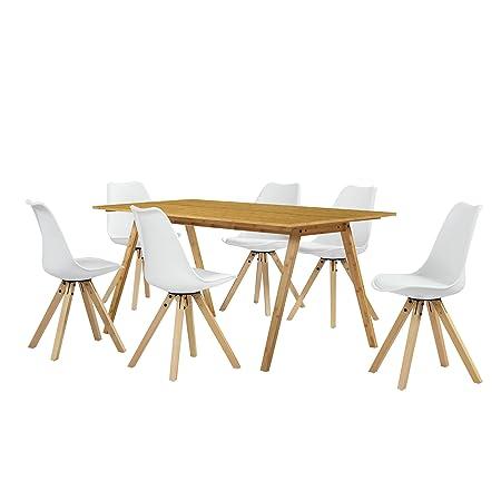 [en.casa] Table à manger bambou avec 6 chaises blanc rembourré 180x80cm cuisine
