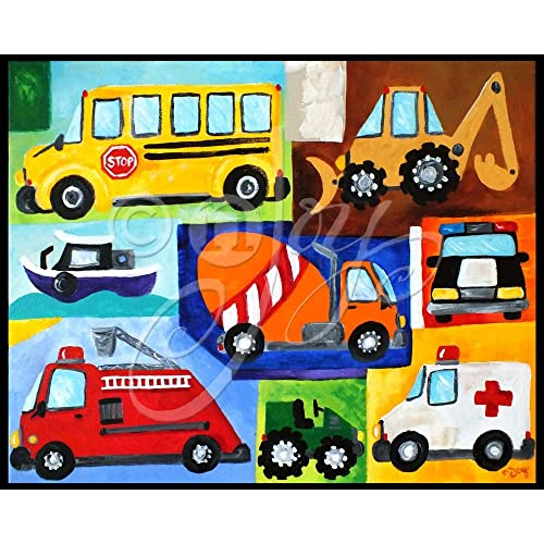 20x16 Transportation Art Print. Truck themed art for boys room decor by nJoyArt.