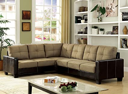 Lavena I Dark Taupe and Espresso Upholstery Contemporary Style Sectional Corner Sofa