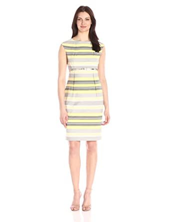 calvin klein s belted striped sheath dress at