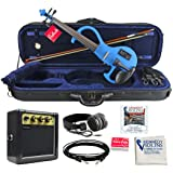 Bunnel EDGE Electric Violin Outfit Bombshell Blue Amp Included (Color: Bombshell Blue, Tamaño: 4/4 (Full) Size)
