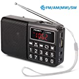 PRUNUS Portable Radio SW/FM/AM(MW)/MP3/USB/SD/TF Rechargeable with Neodymium Speaker. Large Button and Large Display. Stores Stations Automatically. (NO Manual Memory/Delete Stations Function) (Color: Black)