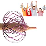 JRD & BS WINL Amazing Magic Flow 3D Kinetic Ring Spring Toy Outdoor Game Intelligent Relax, Stainless Metal Galactic Globe Funny Toys for 3-12 Year Old Girls to Play(Purple)