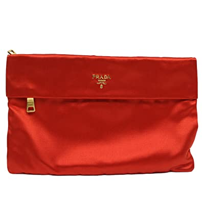 Prada Raso Satin Pochette Tessuto BP441M, Red: Handbags: Amazon.com