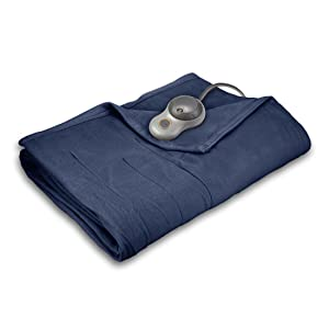 Sunbeam<sup>®</sup> Quilted Fleece Electric Heated Blanket width=