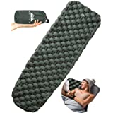 WellaX Ultralight Air Sleeping Pad – Inflatable Camping Mat for Backpacking, Traveling and Hiking – Super Comfortable Air Cell Design for Better Stability & Support –Plus Repair Kit (Green)