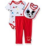 Disney Baby Boys' Mickey Mouse 3 Piece Bodysuit, Pant, and Bib Set, White/red, 6-9 Months (Color: White/Red, Tamaño: 6 - 9 Months)