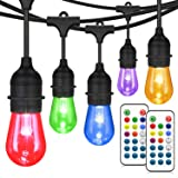 48FT Color Changing Outdoor String Lights, RGB Cafe LED String Lights with 15+3 E26 S14 Shatterproof Edison Bulbs, Commercial Grade Dimmable String Lights for Patio Backyard Garden, 2 Remote Controls (Color: RGB String Lights, Tamaño: 48FT)